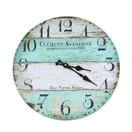 Wanduhr - Clement - Holz Küchenuhr mit großem Ziffernblatt aus MDF, Retro Uhr im angesagtem Shabby Chic Design mit leisem Quarz-Uhrwerk, Ø: 32 cm - 1
