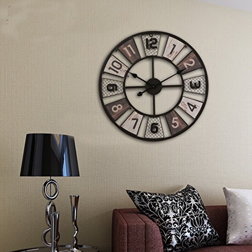 wanduhr gro vintage ct tribe 24zoll 60cm metall lautlos vintage wanduhr uhr wall clock ohne. Black Bedroom Furniture Sets. Home Design Ideas