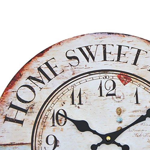 wanduhr home sweet home holz k chenuhr mit gro em ziffernblatt aus mdf retro uhr im. Black Bedroom Furniture Sets. Home Design Ideas