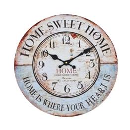 Wanduhr - Home Sweet Home - Holz Küchenuhr mit großem Ziffernblatt aus MDF, Retro Uhr im angesagtem Shabby Chic Design mit leisem Quarz-Uhrwerk, Ø: 32 cm - 1