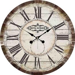 Wanduhr - Hotel Hayward - Holz Küchenuhr mit großem Ziffernblatt aus MDF, Retro Uhr im angesagtem Shabby Chic Design mit leisem Quarz-Uhrwerk, Ø: 34 cm - 1