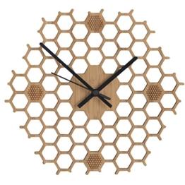 Wanduhr in offener Bienenwaben-Form - Kreatives und modernes Design aus  Bambus/Holz - Leise ohne Ticken - Sechseckig mit offenem Rand - 1