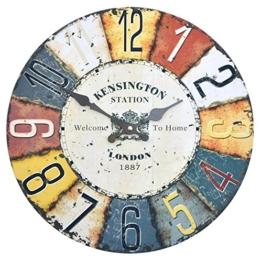 Wanduhr - Kensington - Holz Küchenuhr mit großem Ziffernblatt aus MDF, Retro Uhr im angesagtem Shabby Chic Design mit leisem Quarz-Uhrwerk, Ø: 32 cm - 1