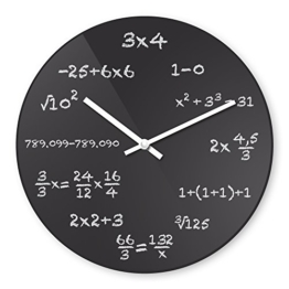 Wanduhr mit Motiv - Mathe - aus Echt-Glas | runde Küchen-Uhr | große Uhr modern - 1