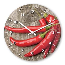 Wanduhr mit Motiv - Peperoni - aus Echt-Glas | runde Küchen-Uhr | große Uhr modern - 1