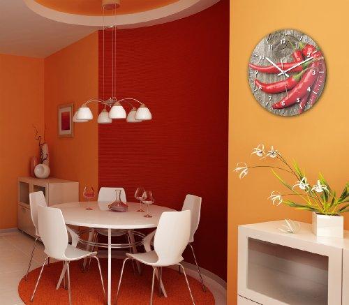 wanduhr mit motiv peperoni aus echt glas runde k chen uhr gro e uhr modern 2. Black Bedroom Furniture Sets. Home Design Ideas