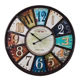 Wanduhr Vintage Holz Groß, Vicoki 58cm Wanduhr Retro Lautlos Wanduhr Geräuschlos Europäische Vintage Uhr Ohne Ticken, XXL - 1
