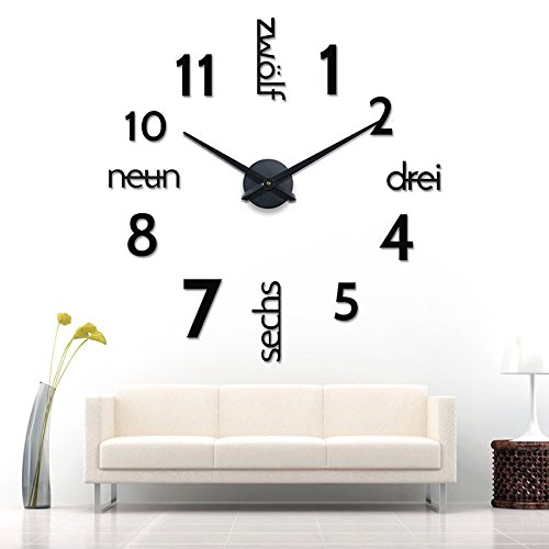 xxl 3d schwarze riesen designer wanduhr wohnzimmer dekoration wandtatoo mit deutschem. Black Bedroom Furniture Sets. Home Design Ideas