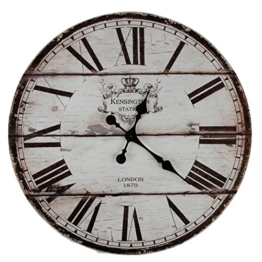 XXL Wanduhr Uhr Ø 58 cm Shabby Vintage Motivuhr Küchenuhr (London) - 1