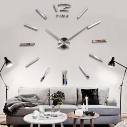 YESURPRISE Wanduhr Riesige Spiegel Wanduhr Vinyl DIY Ø 130cm Große XXL Design Uhr #2 - 1