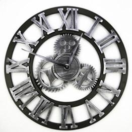 Zahnrad Wanduhr, FOKOM Holz Retro Vintage Wanduhr Uhr Wecker Zahnrad Wanduhr Groß- Ø 45cm - 1
