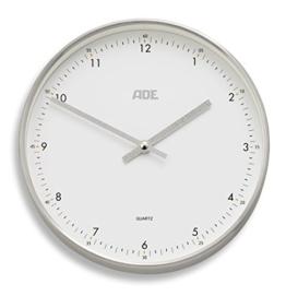 ADE Analoge Wanduhr CK 1603. Funkuhr mit präzisem Quarz-Uhrwerk, Rahmen aus Aluminium und Abdeckung aus Glas. Lautlose Küchenuhr ohne Tickgeräusche mit automatischer Zeiteinstellung. Weiß Silber - 1