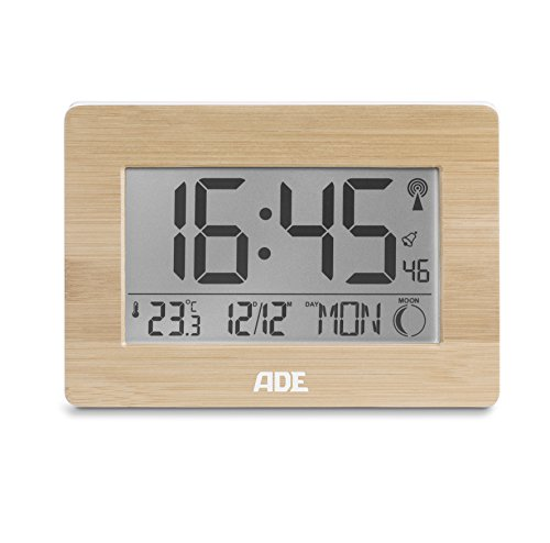 ade funkuhr ck 1702 digitale uhr mit dcf zeitsignal geh use mit echtem bambus lcd display. Black Bedroom Furniture Sets. Home Design Ideas