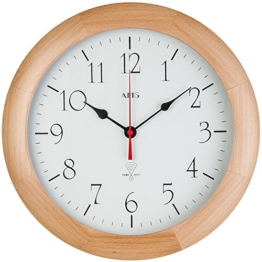 AMS Funk-Wanduhr rund, analog und mit massivem Buchen-Holz, nur 4 cm tief - klares Design - arabische Zahlen, Küchenuhr Weiß - 1