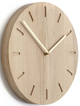 Applicata Watch:Out Wanduhren, Uhren, Holzuhren, Wallclocks, D: 32 cm (Eiche - Messing) - 1
