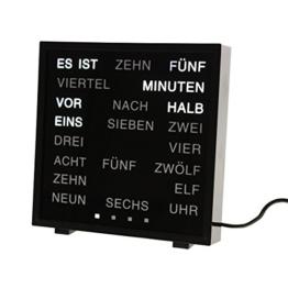 CEBEGO Wortuhr, Wanduhr schwarz Wörter statt Zahlen, mit Kühlmagnet,word clock, LED Wörter Uhr - 1