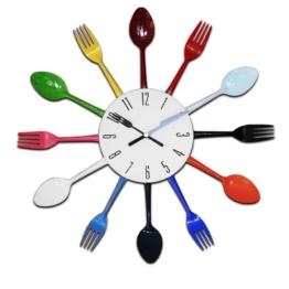 Design Küchenuhr Besteck Uhr Wanduhr Besteckuhr Aluminium bunt 38 cm - 1
