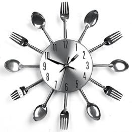 Design Küchenuhr Besteck Uhr Wanduhr Besteckuhr Silber 33 cm feierna - 1