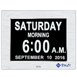 Digitaler Kalender Tag Uhr mit Nicht Abkürzungen Tag & Monat - Aufgerüstet - 8 Zoll XULI® Digital Kalender - (Silber) - 1