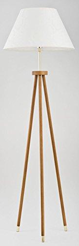 Dreibein Stehlampe Holz Höhe 158cm 3 beinig Trichter-Schirm Beige Dreibeinleuchte Standlampe - 1