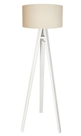 Dreibein Stehleuchte Stehlampe Jalua F Velours creme & gold Holzstativ in weiß H: 140cm 10756 - 1
