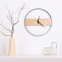 ein holz holz wanduhr yu extrem ruhig simple wohnzimmer innotime nordischen metall rund 16 - zoll - uhr,16 zentimeter,log - farbe - 1