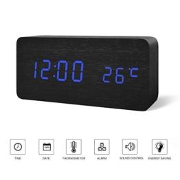 FIBISONIC LED Digital Wecker Zeigt Uhrzeit Datum Temperatur Würfel Holz Schwarz Blau - 1