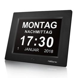 FIBISONIC Wecker Digital Bilderrahmen Groß Tischuhr/Wanduhr 8 Zoll Standuhr mit Zeit/Kalender/Foto/Video Anzeige Helligkeit/Musik/Erinnerung Einstellbar Uhr - 1