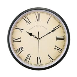 Foxtop Nostalgie Wanduhr Küchenuhr Vintage Design Uhr ohne Ticken mit Großes Ziffernblatt, 30 cm - 1