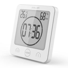 FSHGZ Dusche Wanduhr Mit Saugnapf, Thermometer, Hygrometer, Wasserdicht, Timing, Super Große Anzeige Digital Badezimmer Wanduhr, 4.5x2x4.5 Inch , 1 PC (ohne Batterie 2xAAA) ( Color : Weiß ) - 1