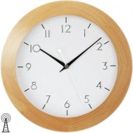 Funk-Wanduhr Holzrahmen Buche furniert Mineralglas Wanduhr Holz - 1