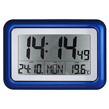 Funkwanduhr mit großer LCD-Anzeige und Standfuß - Tischuhr - digitale Wanduhr - blau - 2