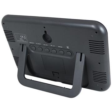 Funkwanduhr mit großer LCD-Anzeige und Standfuß - Tischuhr - digitale Wanduhr - blau - 3
