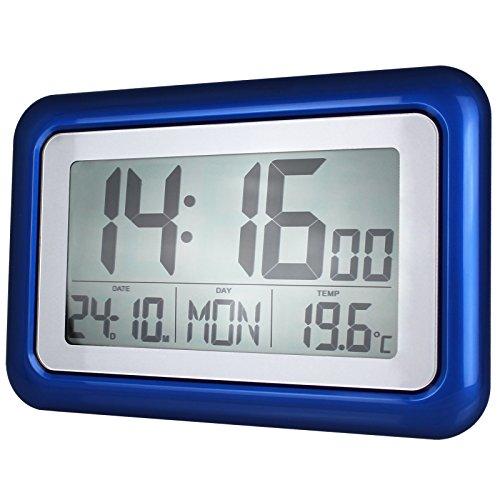 Funkwanduhr mit großer LCD-Anzeige und Standfuß - Tischuhr - digitale Wanduhr - blau - 1