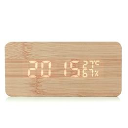Gearmax® LED Holz Digital Wecker Uhr Alarm Zeit Kalender Thermometer Luftfeuchtigkeit USB Kabel / Batteriebetrieben Bambus - 1