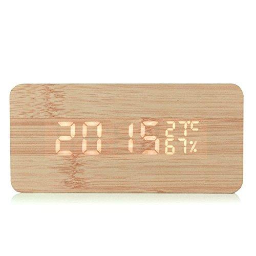 gearmax led holz digital wecker uhr alarm zeit kalender thermometer luftfeuchtigkeit usb kabel. Black Bedroom Furniture Sets. Home Design Ideas
