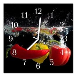Glasuhr von DekoGlas 30x30cm quadratisch Bilderuhr aus Acrylglas mit lautlosem Quarzuhrwerk Dekouhr Glaswanduhr Uhr aus PMMA Wanduhren Küchenuhr Wanddekoration Glasbilder Paprika schwarz - 1