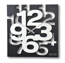 GMMH 3 D Moderne Design Wanduhr 1106 Küchenuhr Baduhr Bürouhr Dekoration ruhig (schwarz weiß) - 1