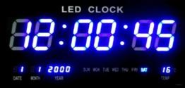 Große LED Uhr Wanduhr DatumTemperatur Anzeige Digital Datum Bar Cafe Blau JH4622 - 1