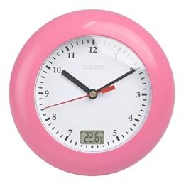 GuDoQi Wasserdichte Analoge Badezimmer Uhr Saugnäpfe Temperatursensor Digital Thermometer Wanduhr Dusche Timer Rosa - 1