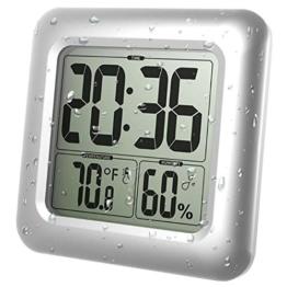 GuDoQi Wasserdichte Badezimmeruhr LCD Digital Wandspiegel Saugnapf Küchentemperatur Feuchtesensor Zeituhr Duschuhr - 1