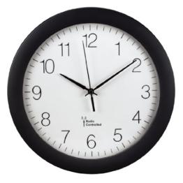 Hama Funk-Wanduhr Küchenuhr (leise, 30cm groß, automatische Zeitanpassung und Zeitumstellung von Sommer- und Winterzeit, modernes Ziffernblatt) Küchenwanduhr schwarz - 1