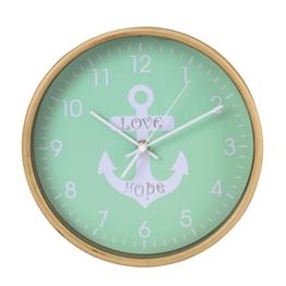 Hama Wanduhr (geräuscharme Uhr ohne Ticken, Holzrahmen, Ankerdesign, 26 cm) mint - 1