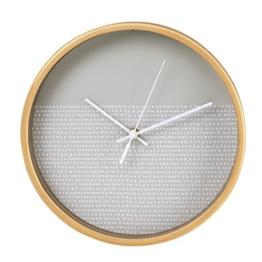 Hama Wanduhr (geräuscharme Uhr ohne Ticken, Holzrahmen, Punktedesign, 26 cm) hellgrau/weiß - 1