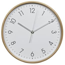 Hama Wanduhr HG-250, Holz (geräuscharme Uhr ohne Ticken, 25 cm Durchmesser) weiß/natur - 1