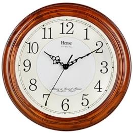 HENSE 13 Zoll große massive Platane Holz Wanduhr Wohnzimmer Moderne Uhr Stumm Einfache Quarzuhr mit großen arabischen Ziffern und feine Textur HW13 (HW13 #C Dunkelbraun) - 1