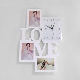 HL Vertikale Liebe Bilderrahmen Wanduhren Moderne Einfache Uhren Kreative Bilderrahmen Wanduhren Wohnzimmer Mode Holz Bilderrahmen,Weiß flash silber,438 * 662 * 52mm - 1