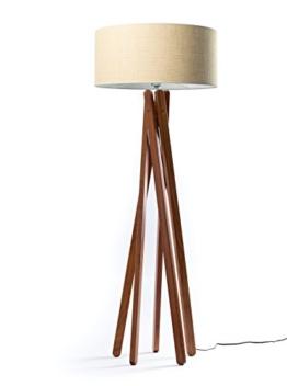 Hochwertige Design Stehlampe Tripod mit gewebtem Stoffschirm in beige und Stativ/Gestell aus dunklem Holz Echtholz Nussbaum | H= 160cm | Stehleuchte | Handgefertigte Leuchte - 1