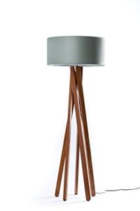 Hochwertige Design Stehlampe Tripod mit Stoffschirm in grau und Stativ/Gestell aus dunklem Holz Echtholz Nussbaum | H= 160cm | Stehleuchte | Natur | Handgefertigte Leuchte - 1