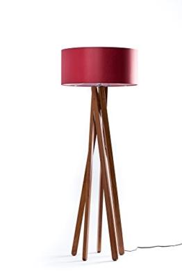 Hochwertige Design Stehlampe Tripod mit Stoffschirm in rot und Stativ/Gestell aus Holz Echtholz Nussbaum | H= 160cm | Stehleuchte | Natur | Handgefertigte Leuchte - 1